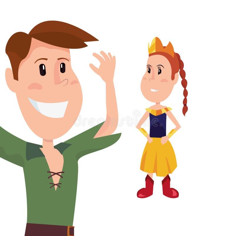 Jongen en meisjes de kostuums van Halloween royalty-vrije illustratie