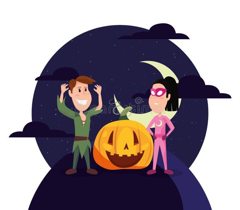 Jongen en meisjes de kostuums van Halloween stock illustratie
