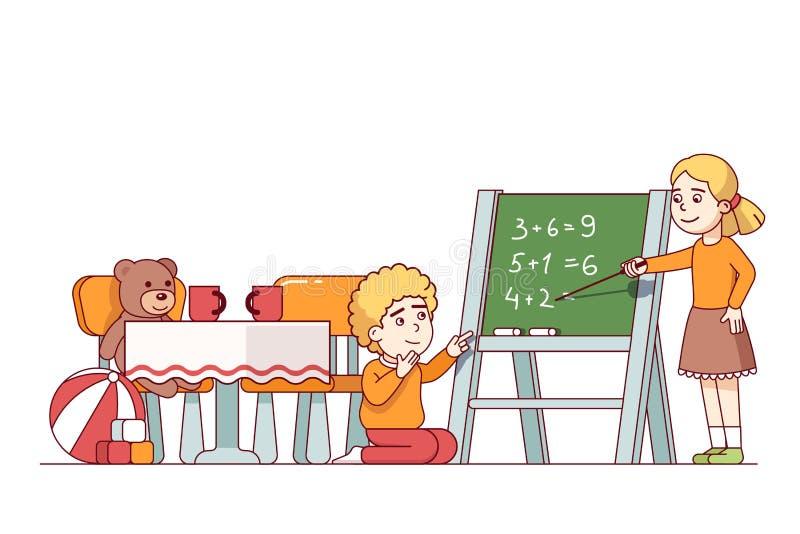 Jongen en meisjes het spelen en het leren wiskunde in jong geitjeruimte stock illustratie