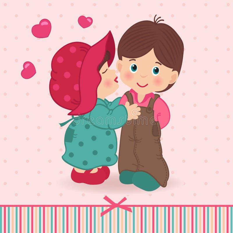 Jongen en meisjesliefde vector illustratie