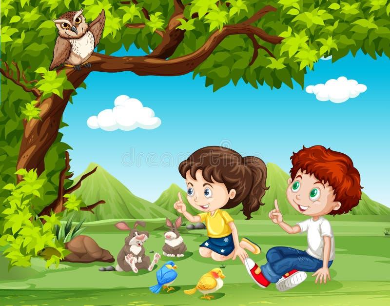 Jongen en meisjeszitting onder de boom royalty-vrije illustratie
