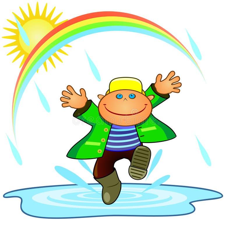 Jongen en regen vector illustratie