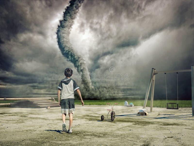 Jongen en tornado stock fotografie