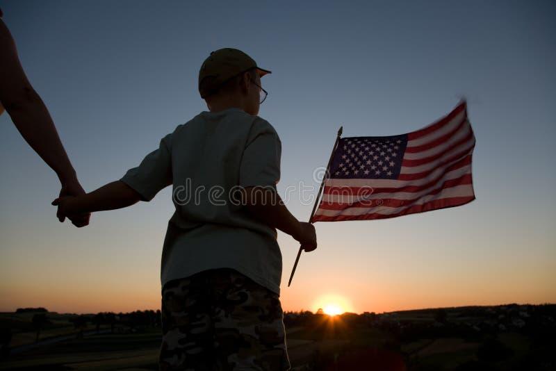 Jongen en vlag royalty-vrije stock fotografie
