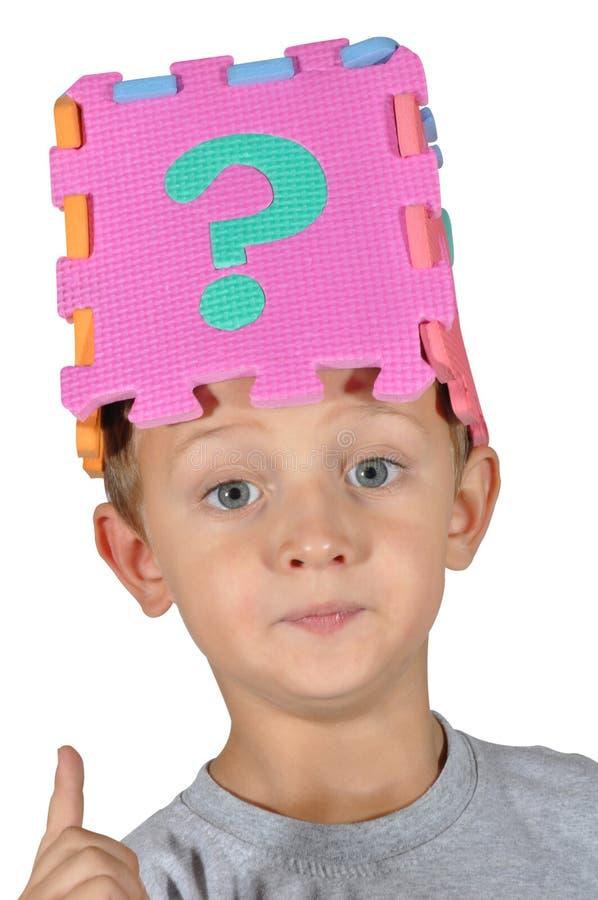 Jongen en vraagteken 2 royalty-vrije stock afbeeldingen