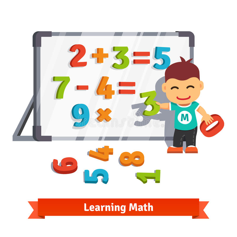 Jongen het leren wiskunde royalty-vrije illustratie