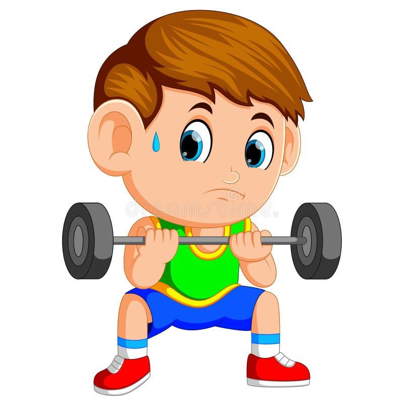Jongen het opheffen gewichten stock illustratie