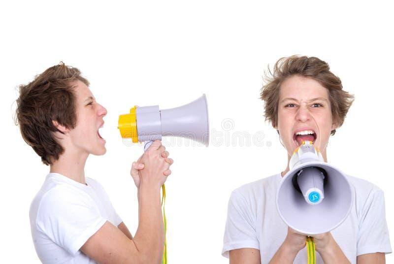 Jongen het schreeuwen royalty-vrije stock afbeelding