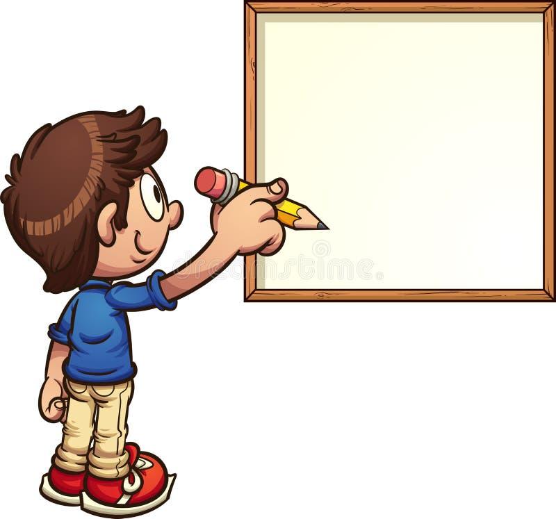 Jongen het schrijven stock illustratie