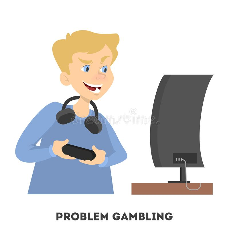 Jongen het spelen computervideospelletje met controlemechanisme stock illustratie