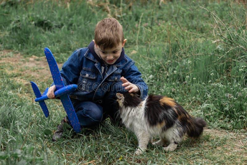 Jongen het spelen met een pluizige kat in het park stock foto