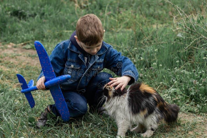 Jongen het spelen met een pluizige kat in het park royalty-vrije stock foto