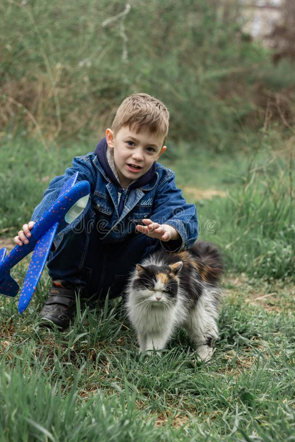 Jongen het spelen met een pluizige kat in het park stock fotografie