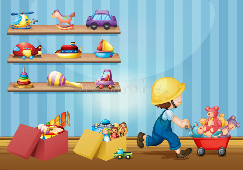 Jongen het spelen met speelgoed in de ruimte stock illustratie
