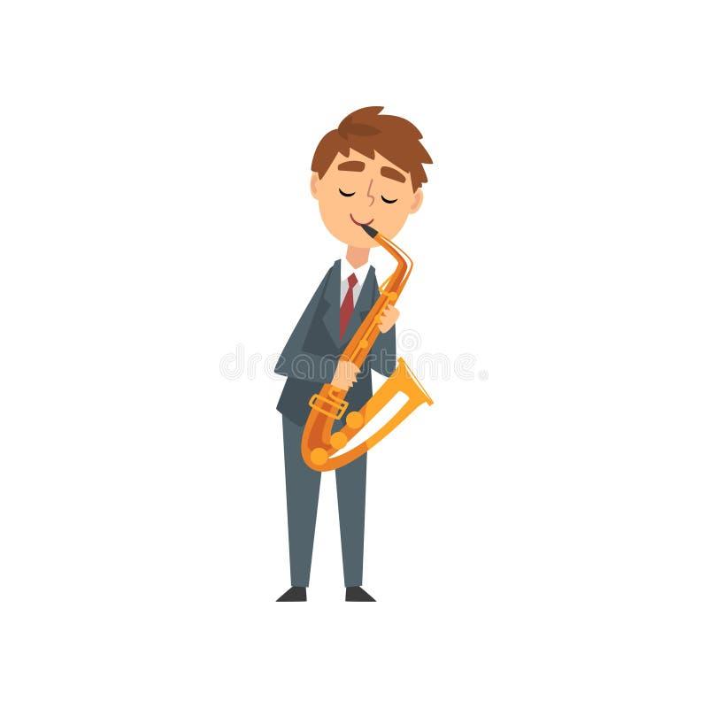Jongen het Spelen Saxofoon, het Begaafde Jonge Muzikale Instrument van Saxofonistcharacter playing acoustic, Overleg van Klassiek stock illustratie