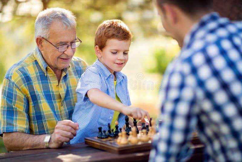 Jongen het spelen schaak op de lijst royalty-vrije stock foto