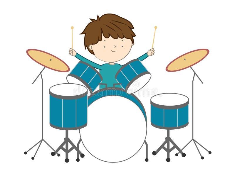Jongen het spelen trommels op witte achtergrond worden geïsoleerd die royalty-vrije illustratie