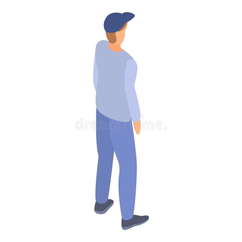 Jongen in honkbalglb pictogram, isometrische stijl vector illustratie