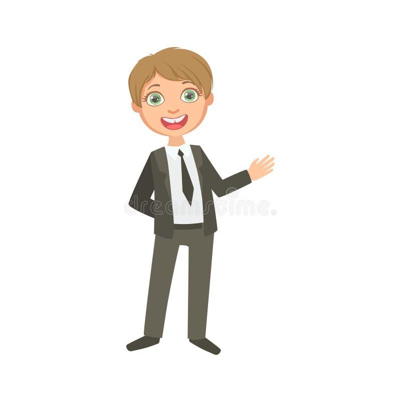 Jongen in Klassiek Zwart Kostuum Gelukkig Schoolkind in School Eenvormig Bevindend en Glimlachend Beeldverhaalkarakter stock illustratie