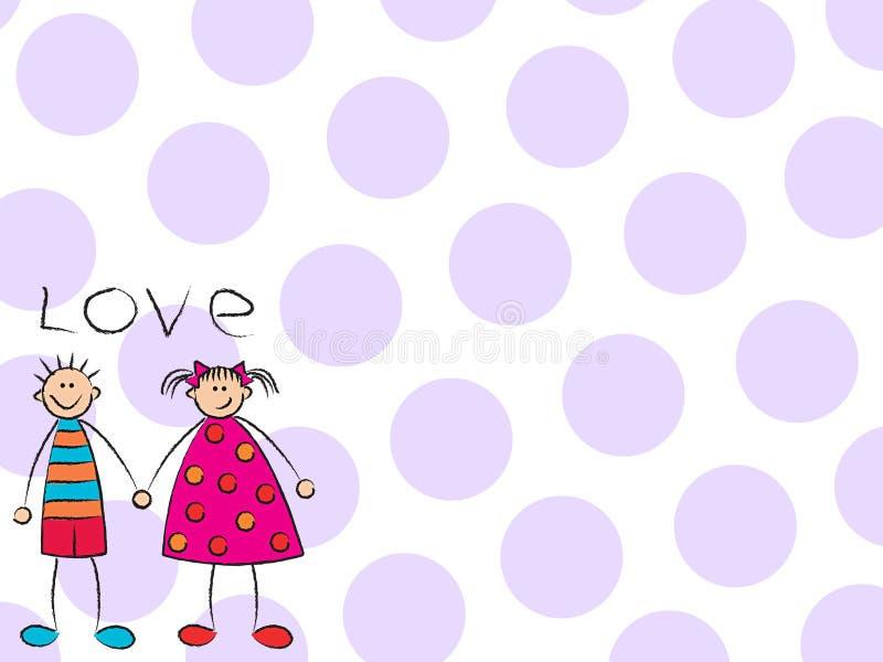 Jongen + Meisje = (purpere) Liefde royalty-vrije illustratie