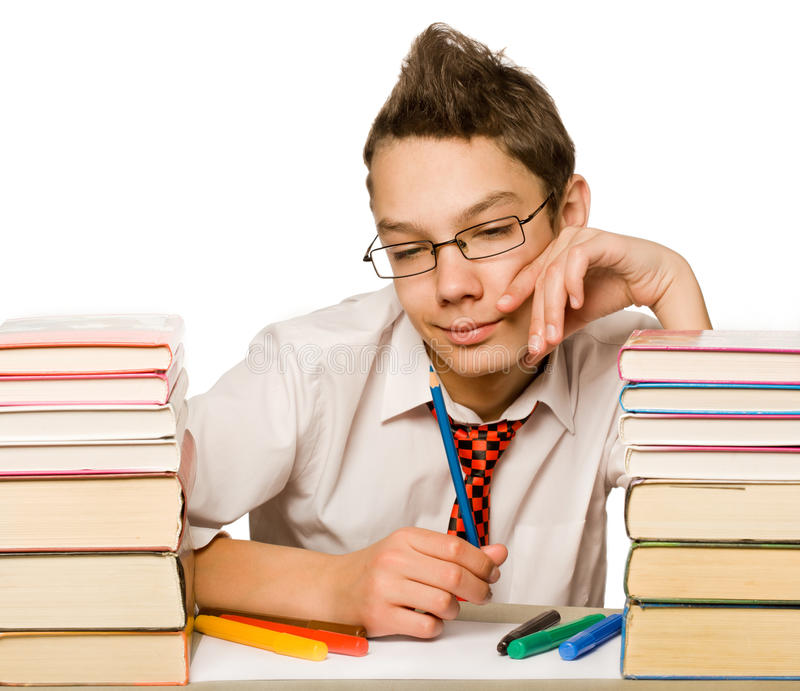 Jongen met boek stock fotografie