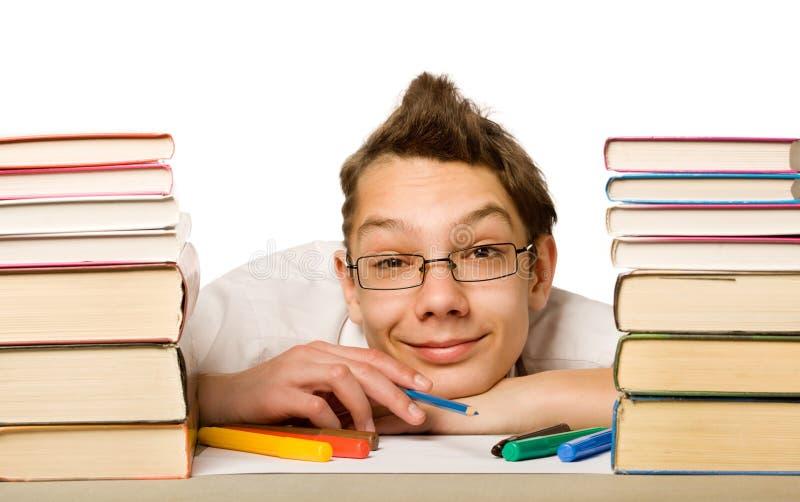 Jongen met boek stock foto's