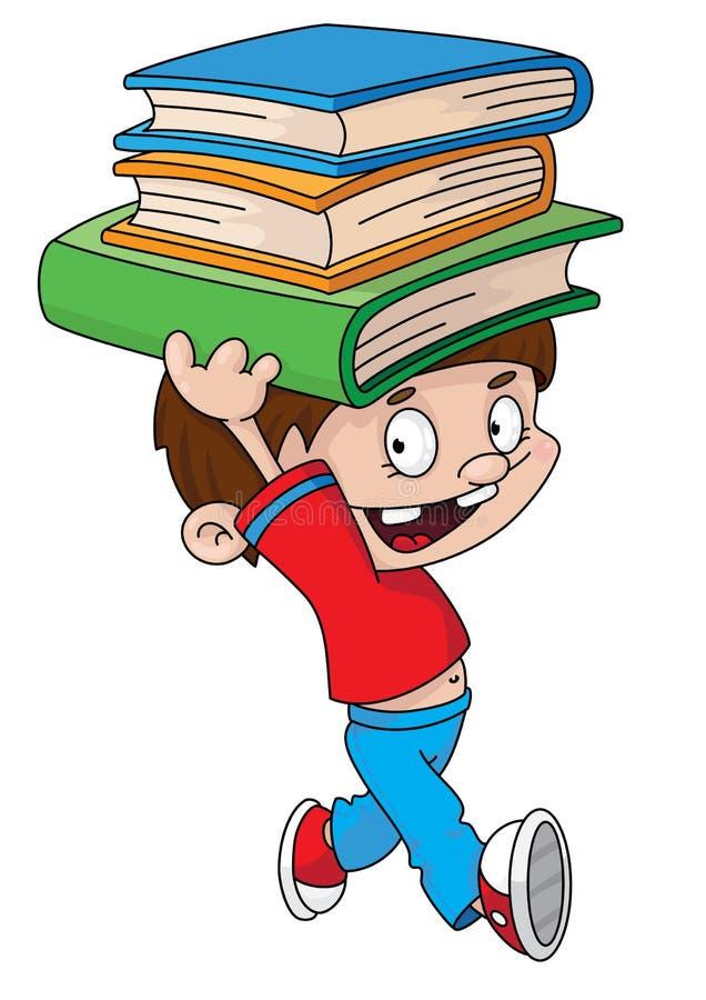 Jongen met boeken royalty-vrije illustratie