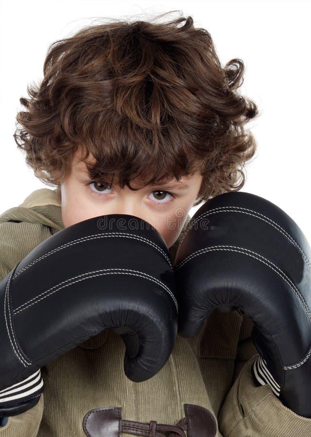 Jongen met bokshandschoenen royalty-vrije stock afbeelding