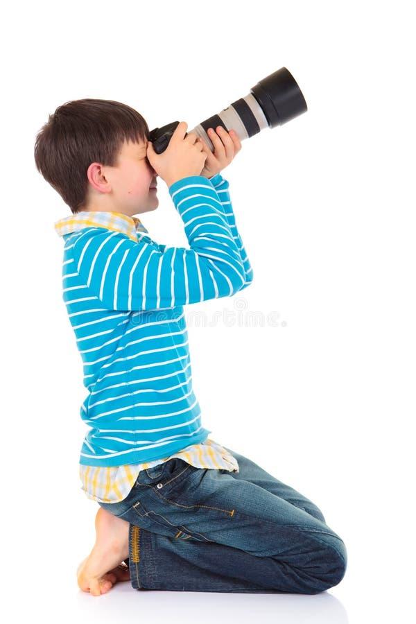 Jongen met camera royalty-vrije stock foto