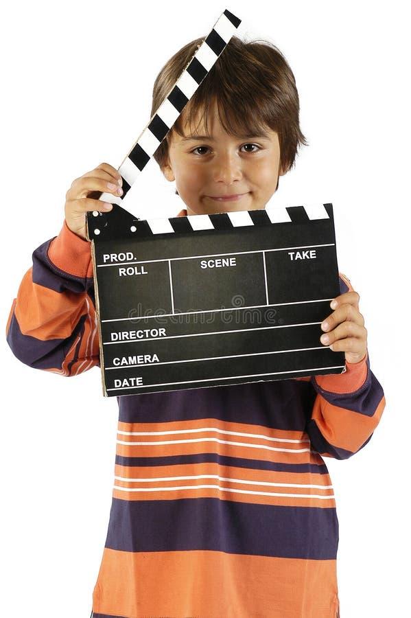 Jongen met de raad van de filmklep royalty-vrije stock foto