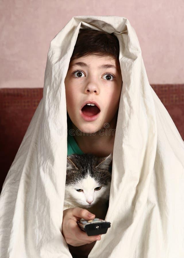 Jongen met de verschrikkingsfilm van het kattenhorloge royalty-vrije stock afbeeldingen