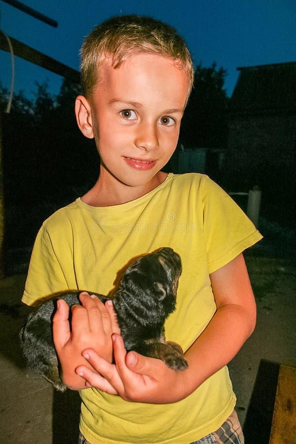 Jongen met een hond royalty-vrije stock afbeeldingen