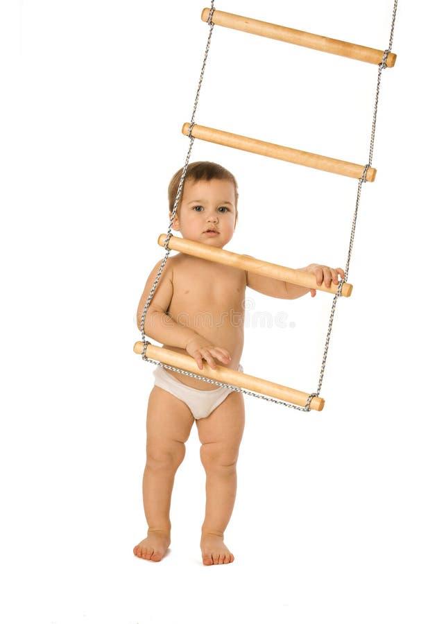 Jongen met een touwladder 2 royalty-vrije stock afbeeldingen