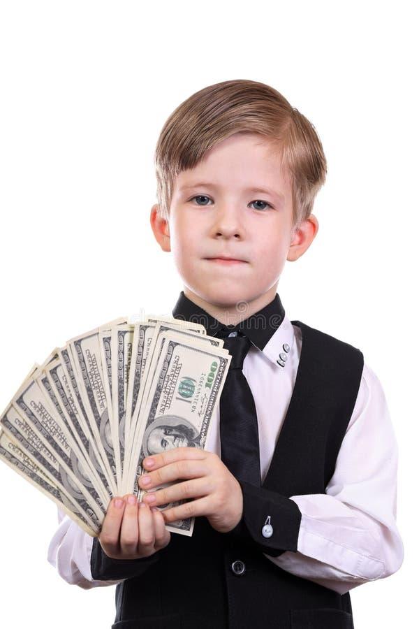 Jongen als bankier stock foto's