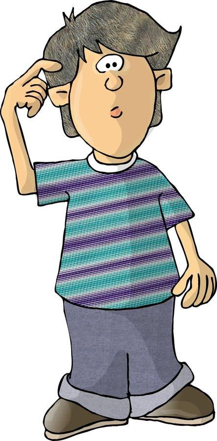 Jongen met een in verwarring gebrachte uitdrukking vector illustratie