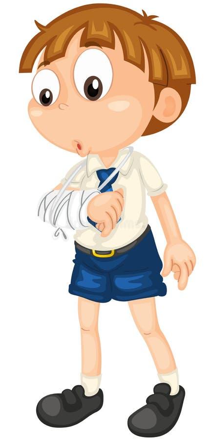 Jongen met gebroken hand royalty-vrije illustratie