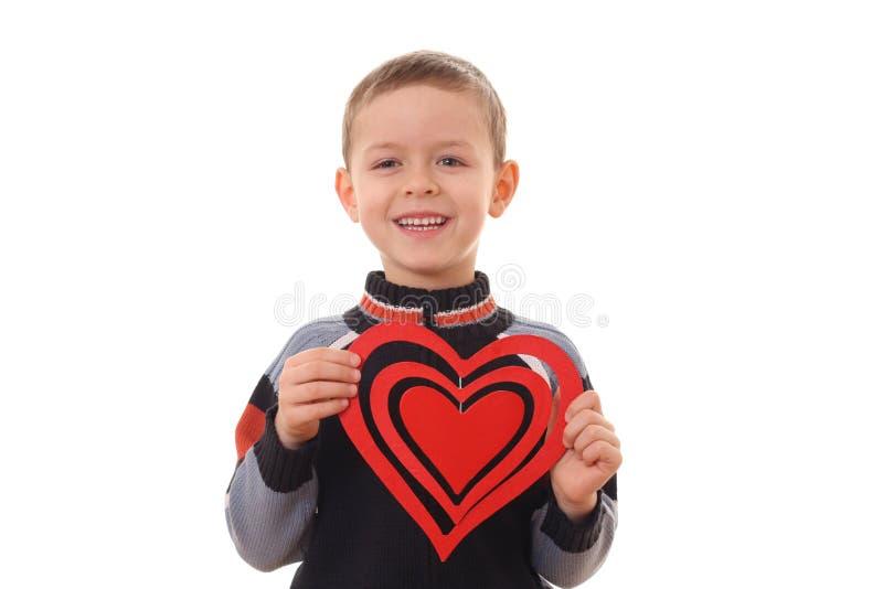 Jongen met groot hart royalty-vrije stock afbeeldingen