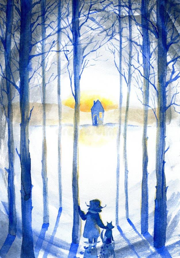 Jongen met hond in de winter forestLandscape De sneeuwboom van het pijnboomsilhouet met zonlicht stock illustratie
