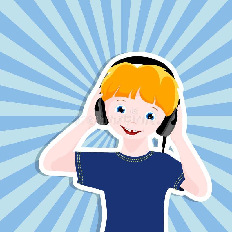 Jongen met hoofdtelefoons vector illustratie