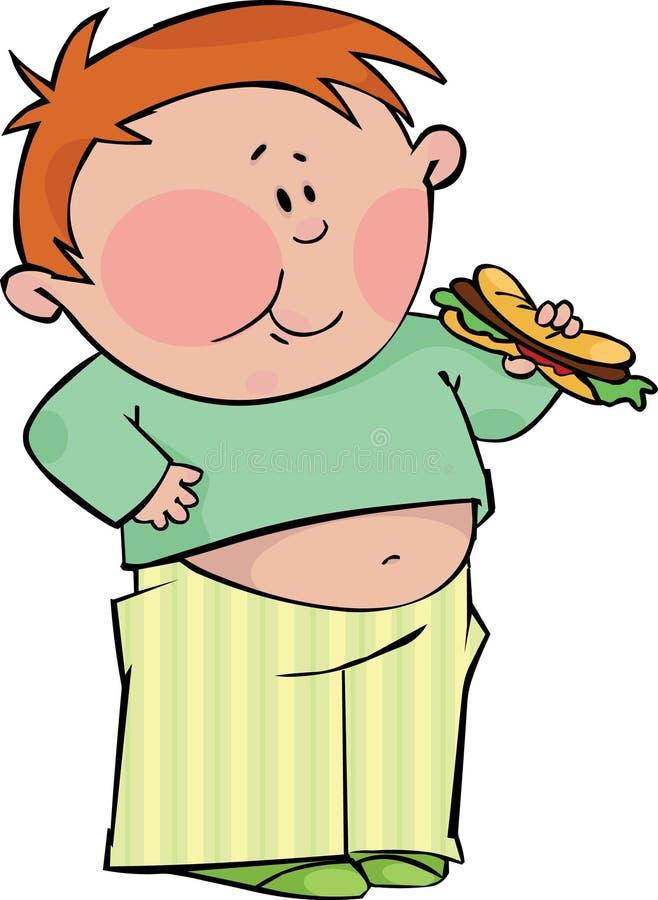 Jongen met hotdog royalty-vrije illustratie