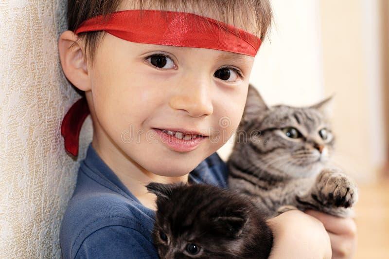 Jongen met kat en katje stock foto's