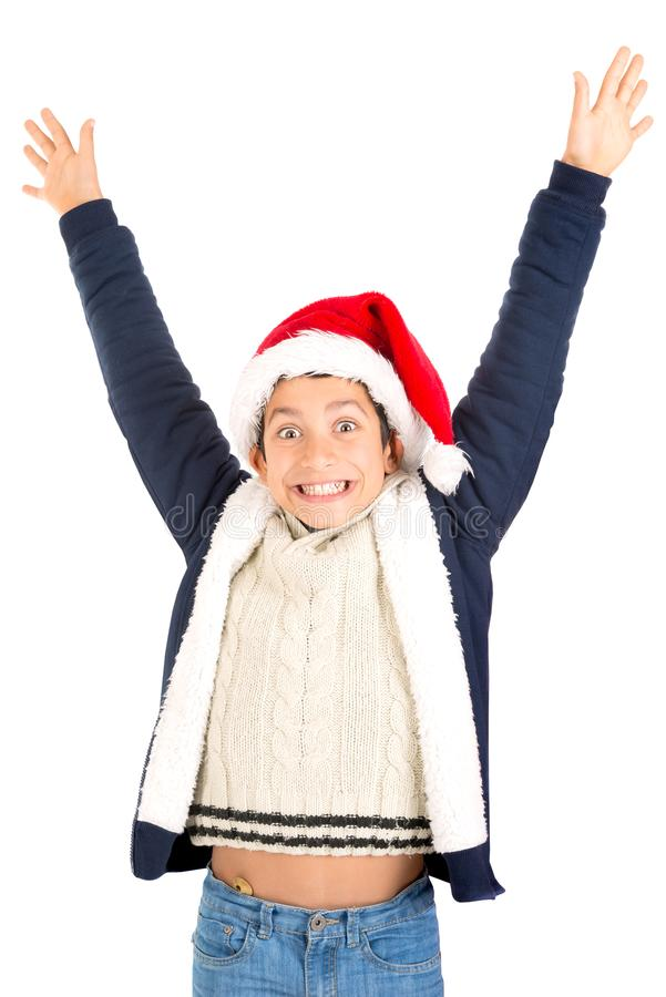 Jongen met Kerstman` s hoed stock afbeeldingen