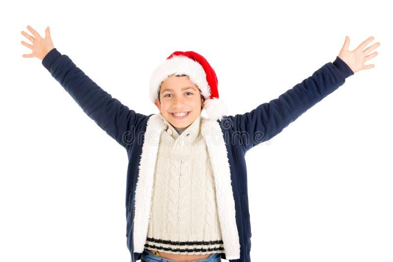 Jongen met Kerstman` s hoed royalty-vrije stock afbeelding