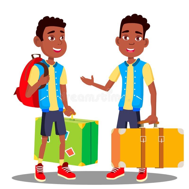 Jongen met Koffer in Zijn Handenvector Zwarte, Afro Amerikaan Geïsoleerdeo illustratie stock illustratie