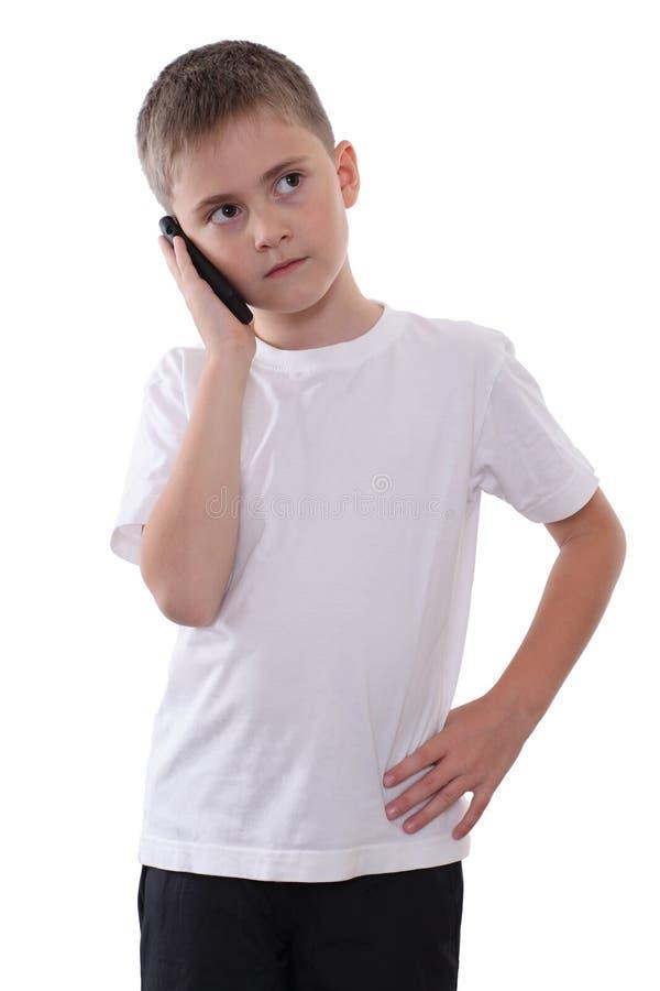 Jongen met mobiele telefoon royalty-vrije stock afbeelding