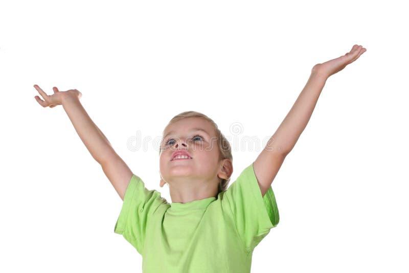 Jongen met omhoog handen royalty-vrije stock fotografie