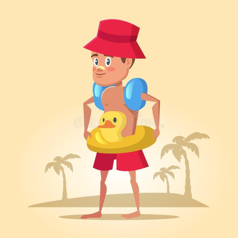 Jongen met Reddingsboei op de Zomervakantie Overzeese vakantie vector illustratie