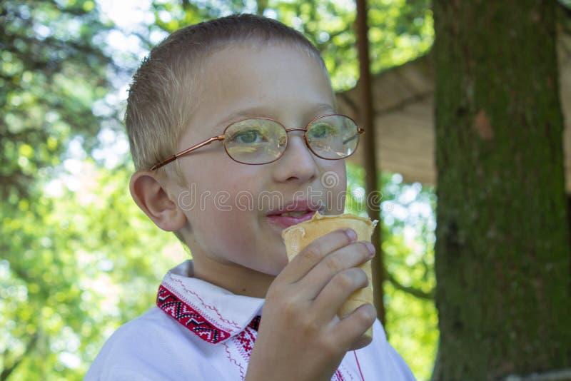Jongen met roomijs royalty-vrije stock foto