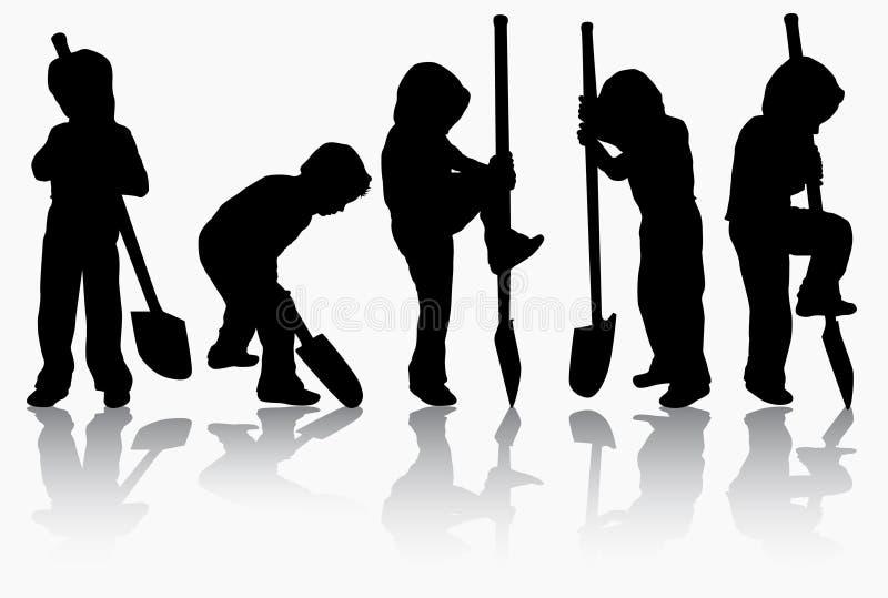 Jongen met spade vector illustratie