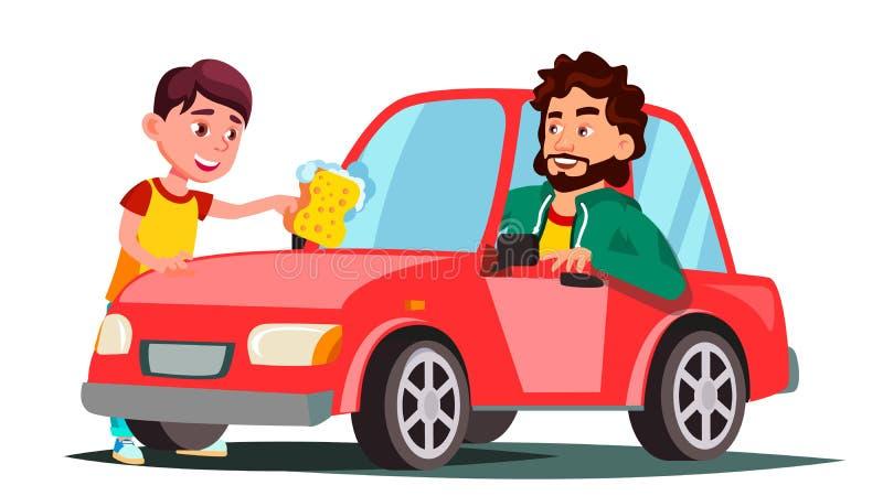 Jongen met Spons die het Venster van Autovector wassen Geïsoleerdeo illustratie stock illustratie